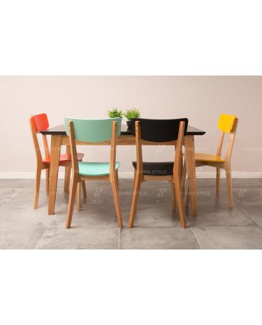 Combo Escandinavo Extensible 1,20 a 1,60 mts + 4 sillas María